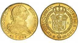 278  -  4 escudos. 1786. Madrid. DV. VI-1470. Golpecitos en gráfila. MBC/EBC.