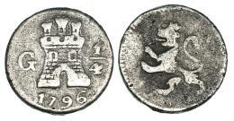 282  -  1/4 real. 1796. Nueva Guatemala. VI-82. MBC-/BC+.