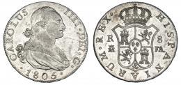 285  -  8 reales. 1805. Madrid. FA. VI-779. Finas rayitas. R.B.O./B.O. MBC+/EBC-.