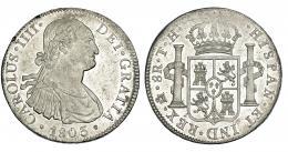 286  -  8 reales. 1803. México. TH. VI-801. Dos golpecitos en gráfila y leva acuñación floja. B.O. Muy rara en esta conservación. EBC+.
