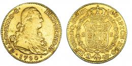 299  -  2 escudos. 1790. Madrid. MF. VI-1040. Estuvo engarzada. Superficies porosas. BC+/MBC-.