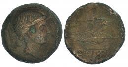 32  -  OBULCO. As. A/ Cabeza femenina a der. R/ Arado y espiga; debajo en cartela OBVLCO. CNH-1. I-1820. ACIP-2178. Sin pátina. MBC-. Escasa.