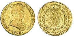 339  -  2 escudos. 1809. Sevilla. CN. VI-1383. Hojitas en rev. MBC-/MBC. Muy escasa.