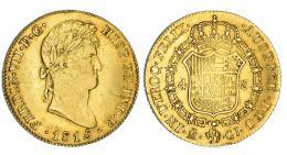 340  -  4 escudos. 1815. Madrid. GJ. VI-1421. Fina grieta y rayita. MBC. Muy escasa.