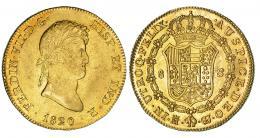 343  -  8 escudos. 1820. Madrid. GJ. VI-1478. Fina rayita en anv. R.B.O. EBC-.