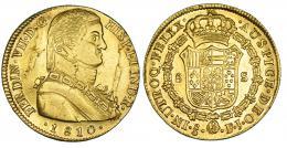 347  -  8 escudos. 1810. Santiago. FJ. VI-1534. Hojas en anv. R.B.O. MBC+/EBC-.