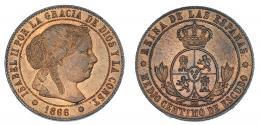 357  -  1/2 céntimo de escudo. 1866. Barcelona. OM. VI-1566. B.O. SC.