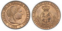 358  -  2'5 céntimos de escudo. 1868. Segovia. VI-193. B.O. SC.