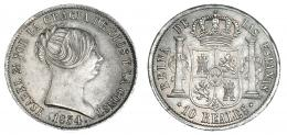 365  -  10 reales. 1854. Sevilla. VI-469. Ligera pátina. EBC/EBC+.