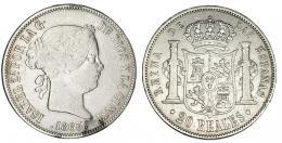 370  -  20 reales. 1863. Madrid. VI-519. MBC-. Muy escasa.