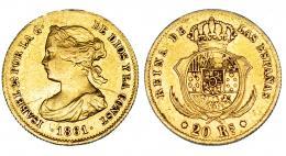 371  -  20 reales. 1861. Madrid. Soldadura arreglada en canto. MBC.