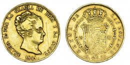 373  -  80 reales. 1841. Barcelona. PS. VI-583. Raya en anv. MBC/MBC-.