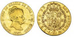 374  -  80 reales. 1837. Sevilla. DR. VI-610. Hojas en anv. y pequeñas marcas. BC+/MBC-. Muy rara.