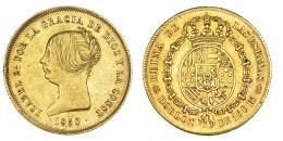 375  -  Doblón de 100 reales. 1850. Madrid. CL. VI-626. Golpecito en gráfila. MBC+.