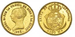 377  -  100 reales. 1855. Barcelona. VI-631. Golpecito en rev. EBC-.