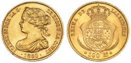379  -  100 reales. 1860. Barcelona. VI-636. B.O. EBC+.