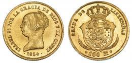 381  -  100 reales. 1854. Madrid. VI-641. B.O. SC.