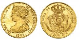 383  -  100 reales. 1861. Madrid. VI-648. EBC-.