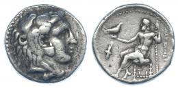 49  -  MACEDONIA. ALEJANDRO III. Sardes (344-323). R/ Debajo del trono TI, delante antorcha. AR 17,02 g. RPC-2622. MBC-/BC+.