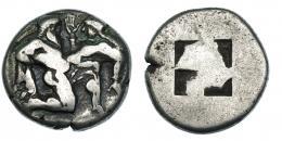 51  -  ISLAS DE TRACIA. Thasos. Estátera (463-411 a.C.). A/ Sátiro y ninfa. R/ Cuadrado incuso. AR 8,6 g. COP-1010-13. SBG-1746. MBC-.