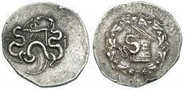 53  -  MISIA. Pérgamo. Cistóforo (190-133 a.C.). A/ A der. sistro. COP-408. SBG-3944 (vte.).  Pequeñas marcas. MBC.