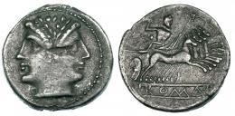 66  -  Quadrigatus. Roma. A/ Roma en cartela en relieve. AR 3,87 g. CRAW-28/4. Defecto de cospel en anv. MBC.