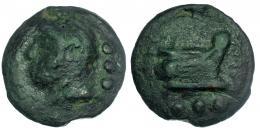 69  -  Quadrans. 225-217 a.C. CRAW-35/4. Pátina verde. BC/MBC-.