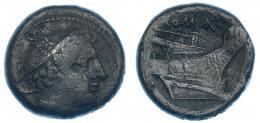 70  -  Semiuncia. Roma (217-215 a.C.). A/ Cabeza de Mercurio a der. R/ Proa, encima ROMA. CRAW-38/7. Pátina verde. MBC-.