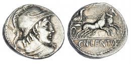 72  -  CORNELIA. Denario. Roma (88 a.C.). A/ Busto de Marte de espaldas a der. con lanza al hombro. R/ Victoria en biga; CN. LENTVL. CRAW-345/1. FFC-624. MBC+.