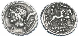 73  -  MEMMIA. Denario. Roma (106 a.C.). A/ Delante de la cara de Saturno . I. CRAW-313/1. FFC-907. Pequeñas marcas. MBC.