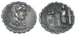 75  -  POSTUMIA. Denario. Roma (81 a.C.). A/ Cabeza de Hispania. R/ Togado entre aquila y fasces. CRAW-372/2. FFC-1072. MBC.