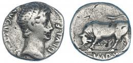 78  -  AUGUSTO. Denario. Lugdunum (15-13 a.C.). R/ Toro embistiendo a izq.; exergo IMP.X. RIC-169. FFC-110. Contramarcas. BC+.