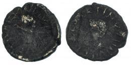 8  -  CARTHAGO NOVA. Cuadrante. Tiberio (31-37 d.C.) A/ Cabeza de Tiberio laureada a izq.; TI CAESAR DIVI AVG F. R/ Cabeza de Calígula a izq. C CAESAR QVIN (…). I--611. RPC-184.Oxidaciones limpiadas. BC.
