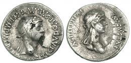 84  -  CLAUDIO I. Denario forrado. Roma (51-54 d.C.). R/ AGRIPPINAE AVGVSTAE. RIC-92. Rayitas y faltas de metal. MBC.