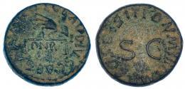 85  -  CLAUDIO I. Cuadrante. Roma (41 d.C.). A/ Mano sujetando balanza, en medio PNR. R/ SC rodeado por la ley. RIC-85. Pátina verde terrosa. MBC.
