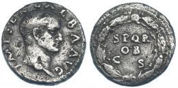 88  -  GALBA. Denario. Roma (68-69 d.C.). A/ Cabeza desnuda a der. R/ SPQR/OB/CS dentro de láurea. RIC-167. Golpe en anv. y erosiones. MBC-.