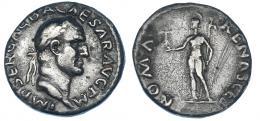 89  -  GALBA. Denario. Roma (68-69 d.C.). R/ Roma a izq.; ROMA RENASCES. RIC-200. Finas rayas en rev. Pátina gris. MBC/MBC-.