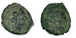 9  -  CARTEIA. Semis. A/ Cabeza de Saturno a der., detrás S. R/ Proa, encima CARTEIA; debajo (L)MA MACVR. CNH-42. I-620 vte. ACIP-2586. Pátina verde terrrosa. MBC-. Rarísima.