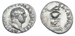 90  -  VITELIO. Denario. Roma (69 d.C.). R/ Trípode con delfín y cuervo; (XV VI)R SACR FAC. RIC-70. Algo descentrada. MBC+. Rara.