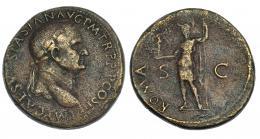 91  -  VESPASIANO. Sestercio. Roma (71 d.C.). R/ Roma a izq. con lanza y Victoria;ROMA, S-C. RIC-443. Porosidades. Bonito retrato. MBC/BC+.