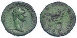 92  -  DOMICIANO. Sestercio. Roma (90-91). R/ Júpiter sentado a izq. con Victoria y cetro; (IOVI) VICTORI, SC. RIC-388. Pátina verde con erosiones en rev. BC+/BC.