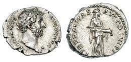 98  -  ADRIANO. Denario. Roma (132-134). R/ Liberalitas a der. con cornucopia; LIBERALITAS AVG COS III P P. RIC-216. Cospel abierto. EBC-.