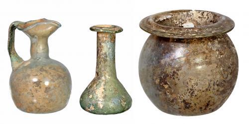 ROMA. Imperio Romano. Vidrio. Lote de tres vidrios: Ungüent