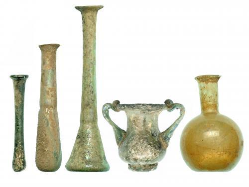 ROMA. Imperio Romano. Vidrio. Lote de cinco piezas: ungüent