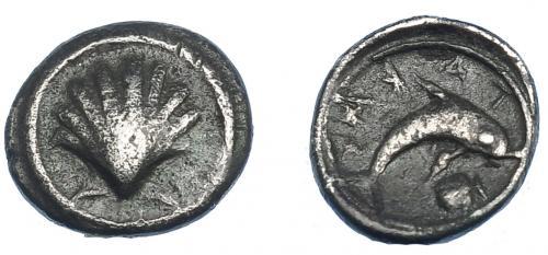 GRECIA ANTIGUA. CALABRIA. Tarento. Hemióbolo (510-460 a.C.)