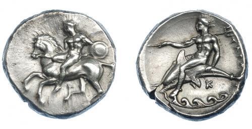 GRECIA ANTIGUA. CALABRIA. Tarento. Didracma (380-340 a.C.).